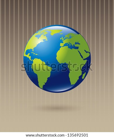 Blue and Green planet over beige background, Vector Illustration - stock vector