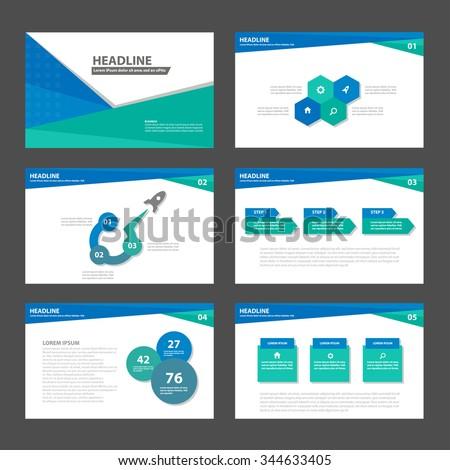 Blue and Green presentation template Infographic elements flat design set for brochure flyer leaflet marketing advertising - stock vector