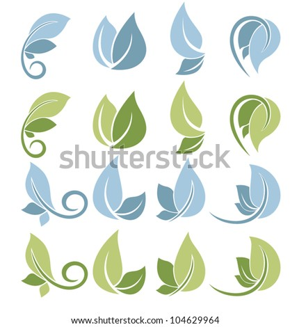 blue and green, vector collection of leaf signs and symbols