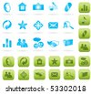 blue and green vector icon set for website - stock vector