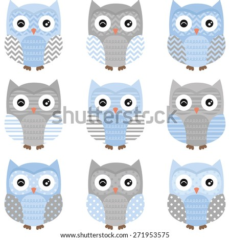 Blue and Grey Cute Owl Collections - stock vector