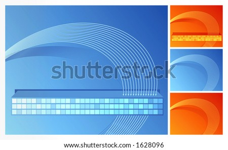 Blue and orange backgrounds in two versions. - stock vector