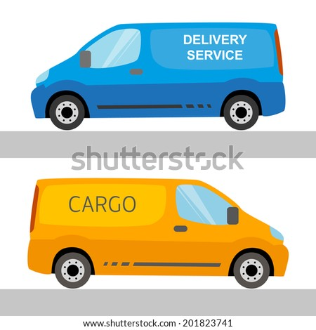 Blue and orange delivery vans isolated on white - stock vector