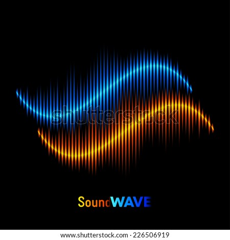 Blue and orange stereo sound or music waveform - stock vector