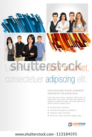 Blue and orange template for advertising brochure with business people - stock vector