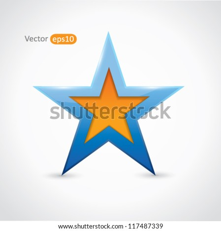 Blue and orange vector star - stock vector
