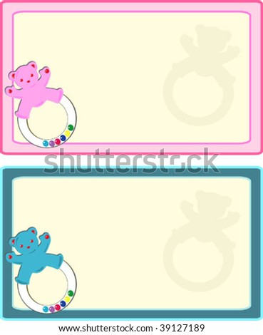 Blue and pink baby announcement stationary,tag