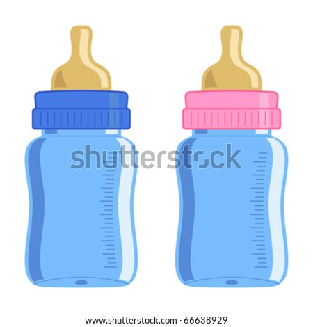 Blue and pink baby bottle over white background - stock vector