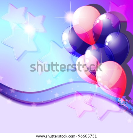 Blue and pink balloons - stock vector