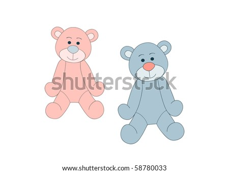 Blue and pink teddy bears for tour birthday or baby arrival design - stock vector