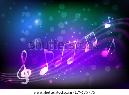 Blue and purple background with abstract musical notation - stock vector