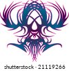 Blue and purple Celtic swirl abstract vector illustration of skull eagle - stock photo