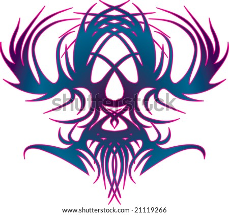 Blue and purple Celtic swirl abstract vector illustration of skull eagle - stock vector