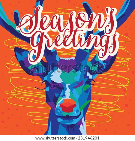 Blue and Purple Geometric Reindeer on Orange background with Seasons Greetings Text - stock vector