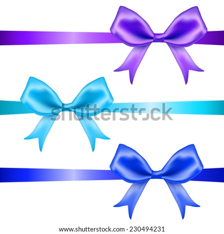 Blue and purple silk  bows and ribbons set on white background. Vector illustration - stock vector