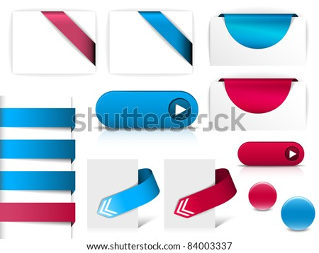 Blue and purple vector elements for web pages - buttons, navigation, pointers, arrows, badges, ribbons - stock vector