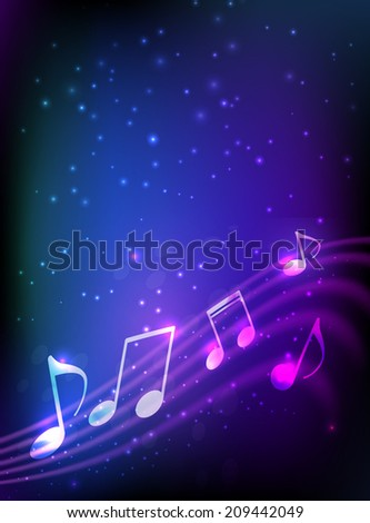 Blue and purple vertical background with abstract musical notation - stock vector