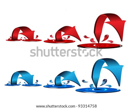 Blue and red arrows with splash and drops - stock vector