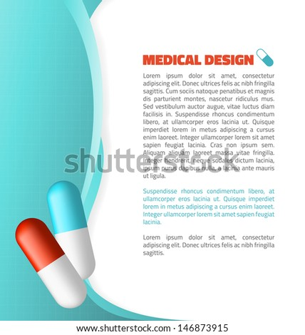 Blue and Red capsule on abstract waves medical design - stock vector