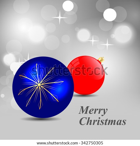 Blue and red Christmas ball with gold snowflakes on a gray background of brilliant - stock vector