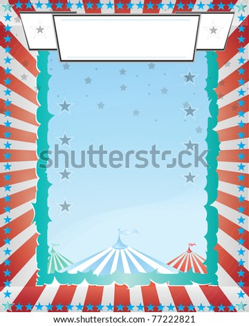 blue and red circus poster retro style - stock vector