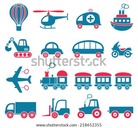 Blue and red cute vector transport icons collection - stock vector
