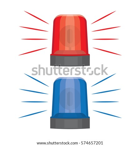 Blue And Red Flashing Warning Lights And Sirens. Flashing Lights For Alarm  Or Emergency Cases