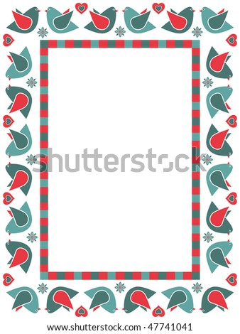blue and red frame with birds and decorations