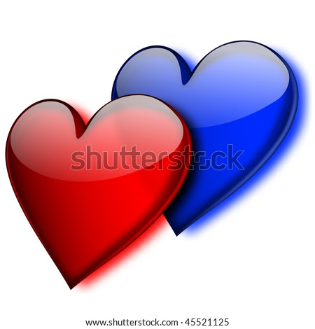 Blue and red glass hearts - EPS 10 vector icon - stock vector