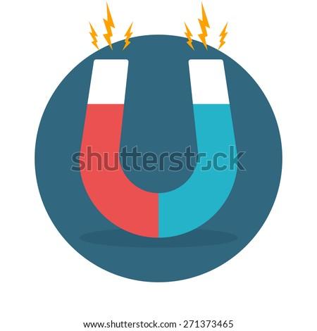 Blue and red horseshoe magnet, magnetism, magnetize, attraction. Flat design. Vector illustration. - stock vector