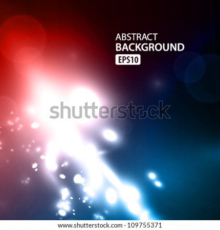 Blue and red nebula on black space background. Vector illustration - stock vector