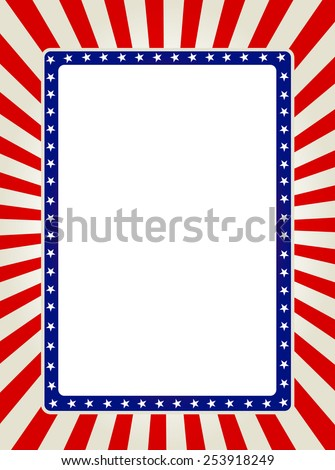 Blue and red patriotic stars and stripes page border / frame design collection - stock vector