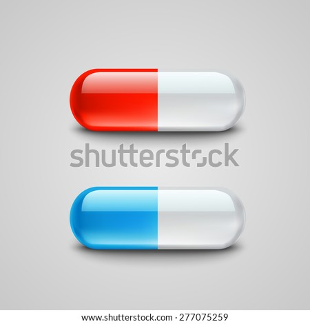 Blue and red pills. Vector illustration - stock vector