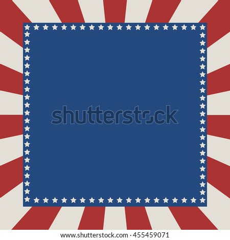 Blue and red THE USA  stars and stripes page border