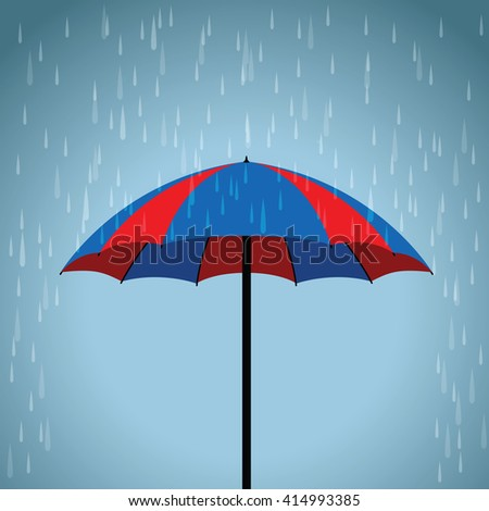 blue and red umbrella - stock vector