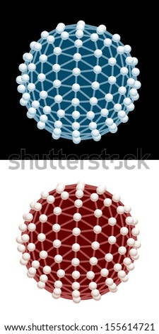 Blue and red vector molecular structures. - stock vector