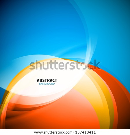 Blue and red wave lines business template - stock vector