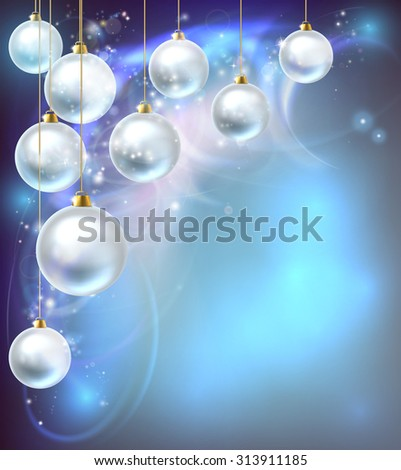 Blue and silver abstract Christmas bauble decoration ornaments festive design background. - stock vector