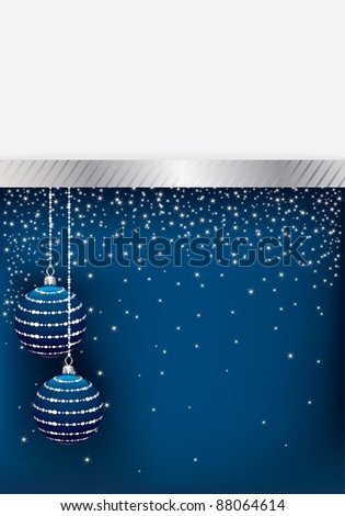 blue and silver christmas decoration with space for text - stock vector