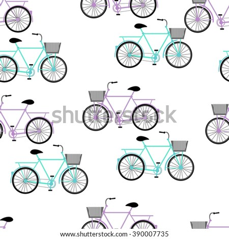 Blue and violet color vector graphic illustration of most popular model of bicycles bikes cycles pedal-driven single-track vehicles with two wheels attached to frame on white seamless background - stock vector