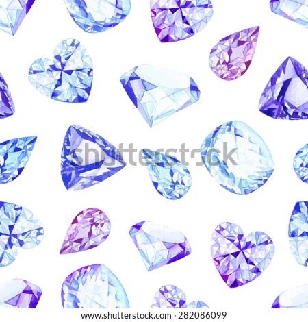 Blue and violet diamond crystals watercolor seamless vector pattern - stock vector