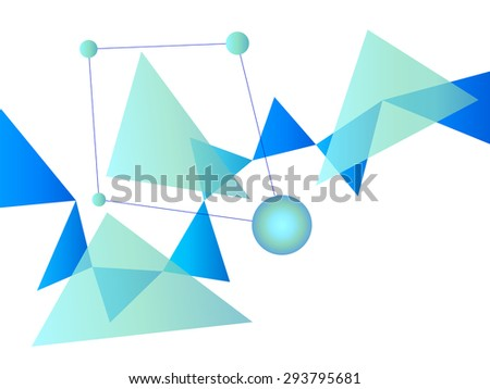 Blue and White Abstract Geometric Shape Vector Background with Spheres and Triangles on White - stock vector