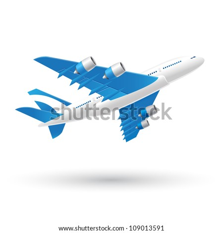 Blue and White Airplane Icon - stock vector