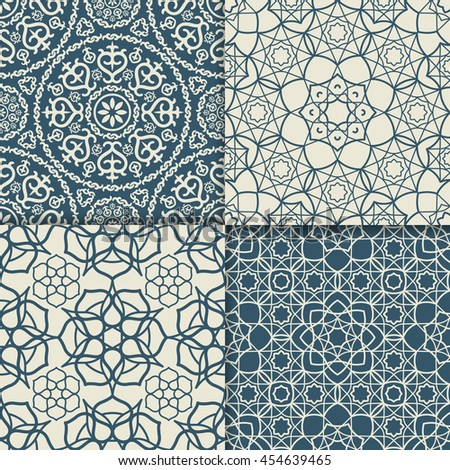 Blue and white Arabic pattern set. Vector illustration - stock vector