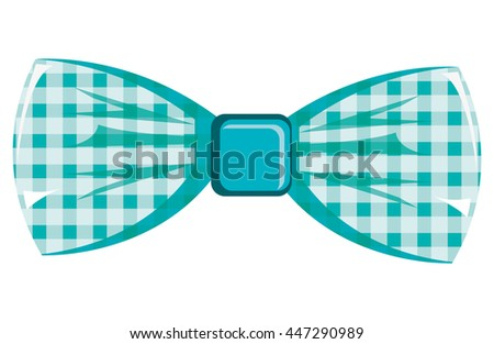blue and white  bow tie front view over isolated background, hipster fashion concept, vector illustration  - stock vector