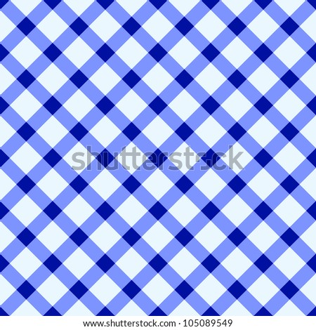 Blue and white checked tablecloth - stock vector