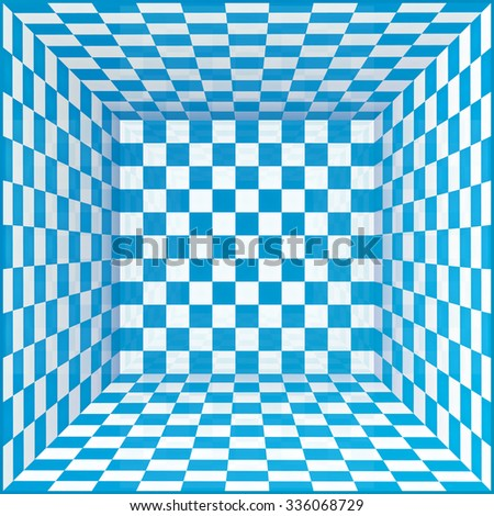Blue and white chessboard walls vector room background - stock vector