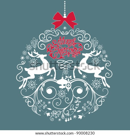 Blue and White Christmas ball illustration. - stock vector