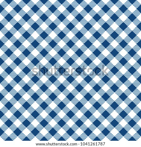 Blue And White Gingham Tablecloth Pattern. Diagonal Rhombus Squares Texture