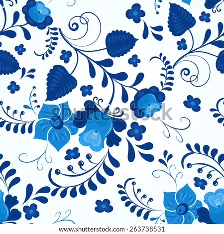 Blue and white gzhel style seamless vector pattern. - stock vector